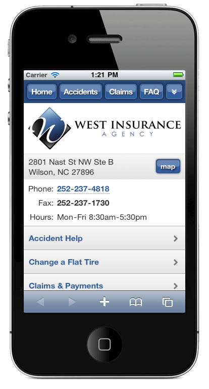 m.westinsurancenc.com website preview